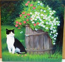 Art: BARREL OF PRETTY FLOWERS by Artist Rosemary Margaret Daunis