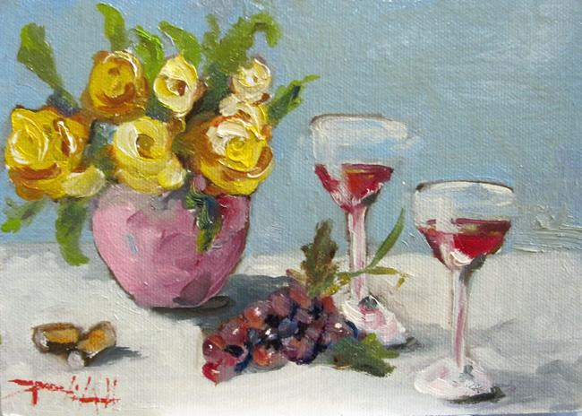 Art: Red Wine and Yellow Roses by Artist Delilah Smith