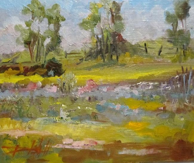 Art: Landscape with a Fence by Artist Delilah Smith