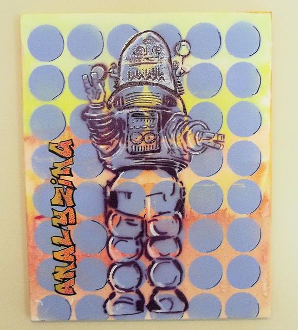 Art: Robbie the Robot Original Graffiti Pop Art 16 20 by Artist Paul Lake, Lucky Studios