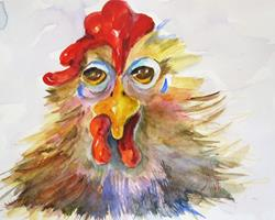 Art: Tired Old Rooster by Artist Delilah Smith
