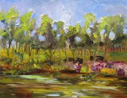 Art: Pond in the Garden by Artist Delilah Smith