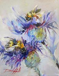 Art: Bees and Thistle by Artist Delilah Smith