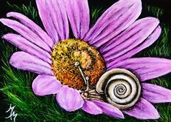 Art: Snail Slumber (SOLD) by Artist Monique Morin Matson