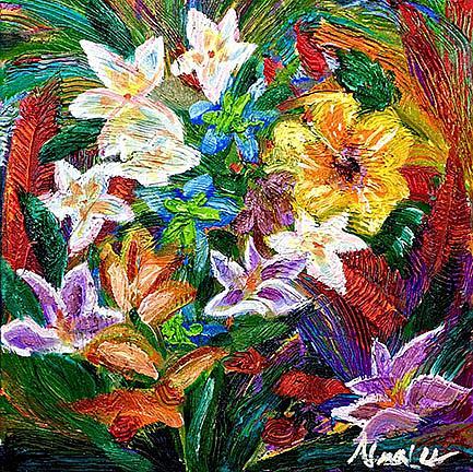 Art: Tropical flowers lr de by Artist Alma Lee