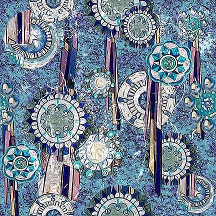 Art: Blue Medallion Fabric Design by Artist Alma Lee