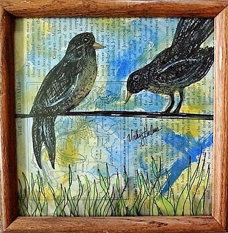 Art: Two Birds on Wire by Artist Vicky Helms
