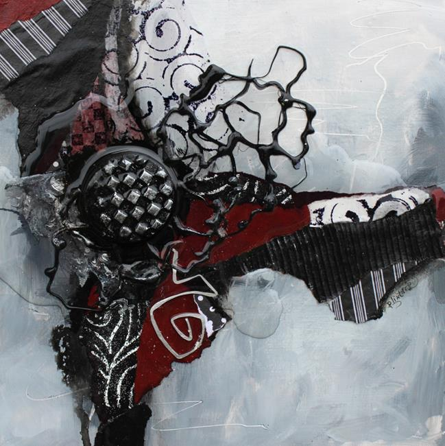 Art: Mixed Media Red and Black by Artist Patricia Lintner
