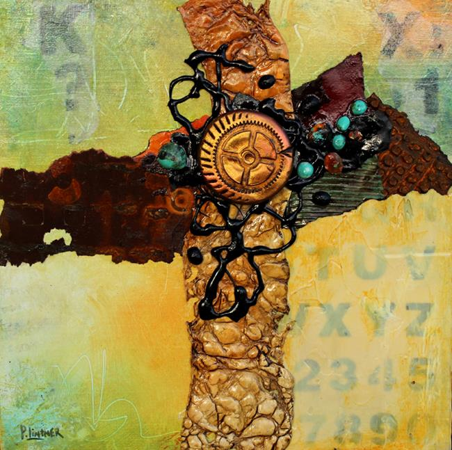 Art: Mixed Media Cruciform 1 by Artist Patricia Lintner
