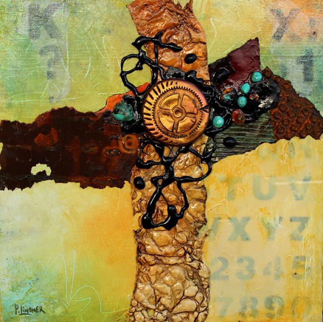 Art: Mixed Media Cruciform 1 by Artist Patricia Lintner