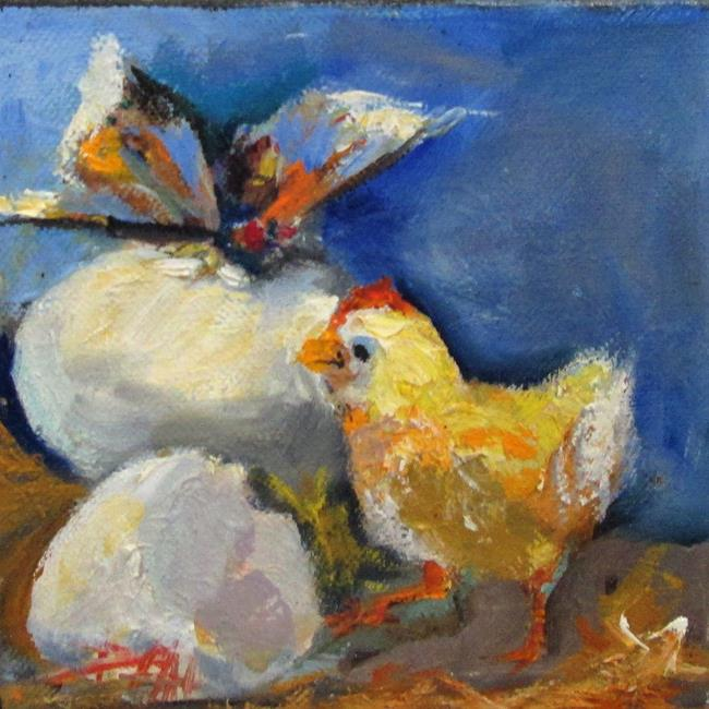 Art: Chick and Butterfly by Artist Delilah Smith