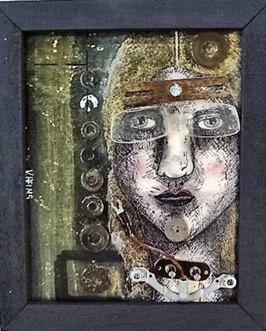 Art: Self Portrait: Auto Pilot by Artist Vicky Helms