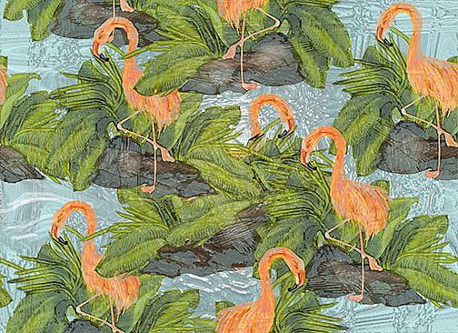 Art: Flamingo Fab lr by Artist Alma Lee