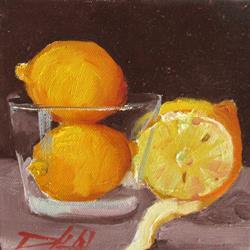 Art: Lemons in a Glass by Artist Delilah Smith
