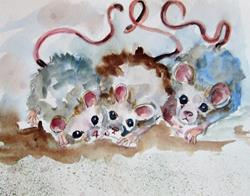 Art: Three Mice by Artist Delilah Smith
