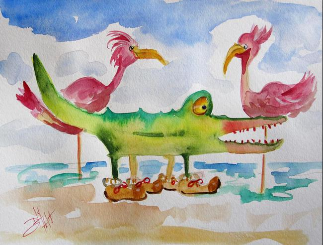Art: Alligator and Flamingos by Artist Delilah Smith