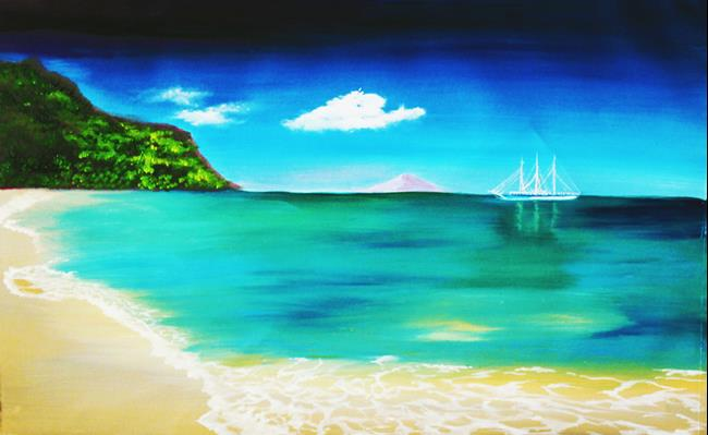 Art: Anchored Anguilla Shoal Bay by Artist Rossi Kelton