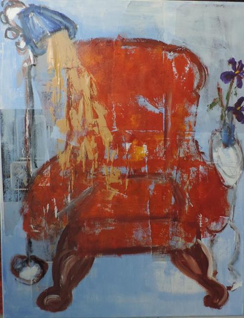 Art: chair with purple irises by Artist Nancy Denommee