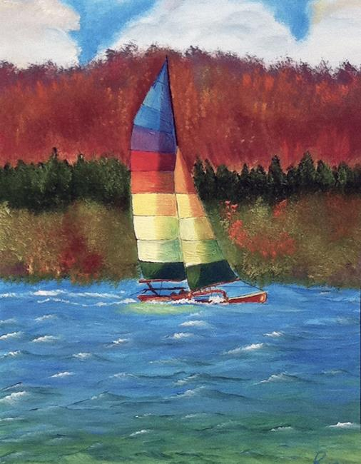 Art: Catamaran sailing 1 by Artist Rossi Kelton