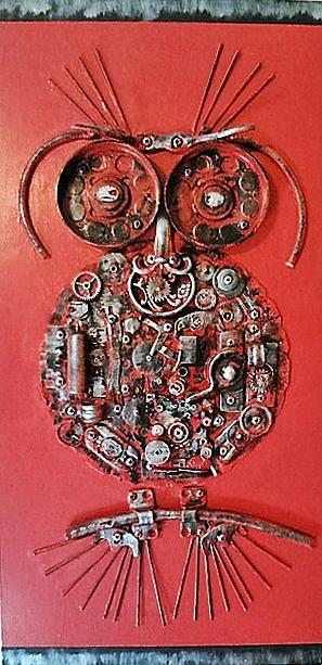 Art: Steampunk Owl (SOLD) by Artist Vicky Helms