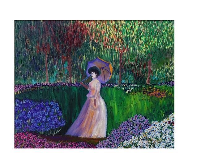 Art: lady in azalia garden by Artist Rossi Kelton