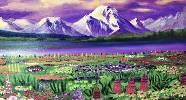 Art: Glaciers and flowers by Artist Rossi Kelton