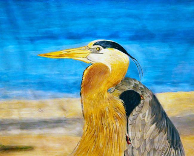 Art: Great Blue Heron by Artist Rossi Kelton