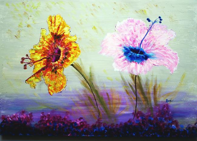 Art: Hibiscus sisters by Artist Rossi Kelton