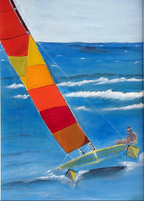 Art: sailing catamaran close by Artist Rossi Kelton