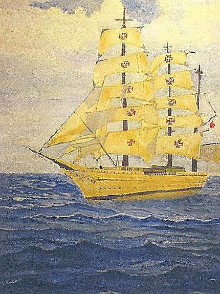Art: Sailing Ship oil on canvas resize by Artist Rossi Kelton