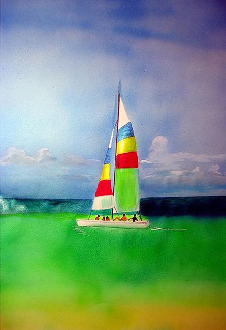 Art: Gulf Sailing small by Artist Rossi Kelton