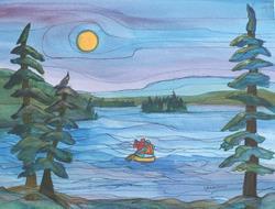 Art: Bridge Lake (sold) by Artist Kathy Crawshay