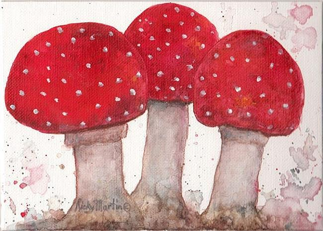 Art: Mushroom Trio - sold by Artist Ulrike 'Ricky' Martin