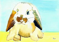 Art: sitting bunny by Artist Rossana Kelton fine artist