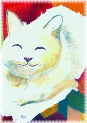 Art: smiling cat by Artist Rossana Kelton fine artist
