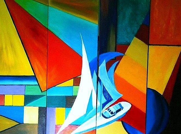 Art: Solo sailing in abstract waters by Artist Rossi Kelton
