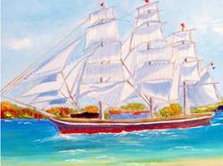 Art: Stad Amsterdan Clipper ship by Artist Rossana Kelton fine artist