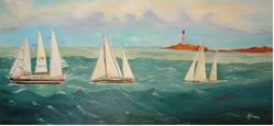 Art: 3shipsebayA (2) by Artist Rossana Kelton fine artist