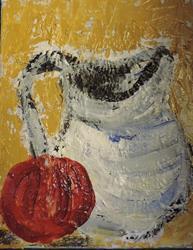 Art: apple and jug by Artist Nancy Denommee