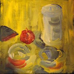 Art: still life with apple by Artist Nancy Denommee