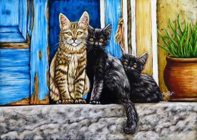 Art: Street Cats  (SOLD) by Artist Monique Morin Matson