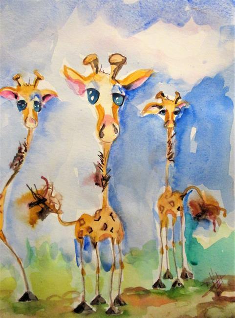 Art: Three Giraffes by Artist Delilah Smith