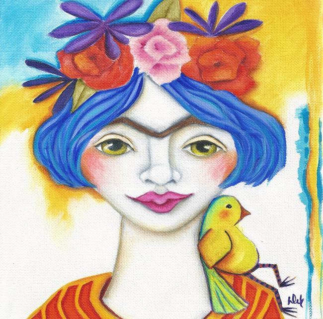 Art: Blue Frida by Artist Deb Harvey