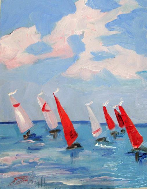 Art: Red White and Blue Sailboats by Artist Delilah Smith