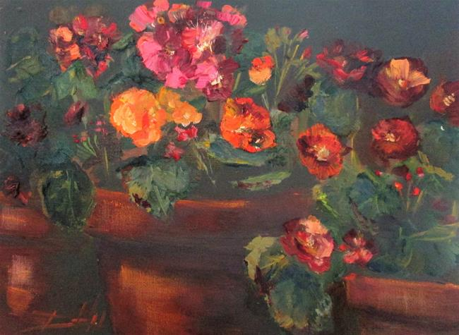 Art: Begonias in Clay Pots by Artist Delilah Smith