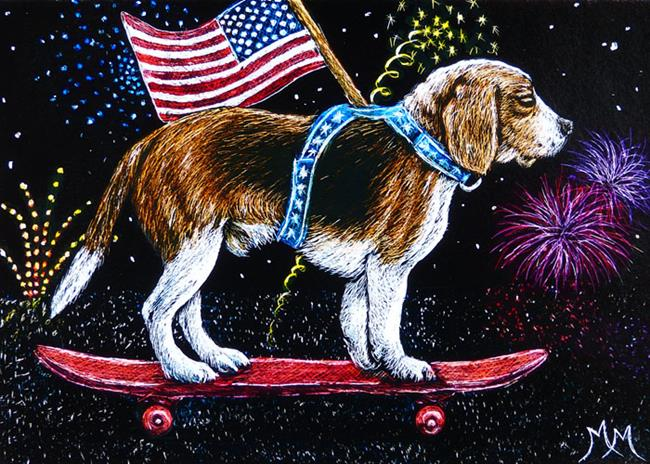 Art: Parade Beagle  (SOLD) by Artist Monique Morin Matson