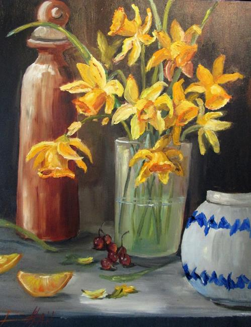 Art: Daffodils and Clay Vase by Artist Delilah Smith