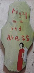 Art: angel in a red dress by Artist Nancy Denommee
