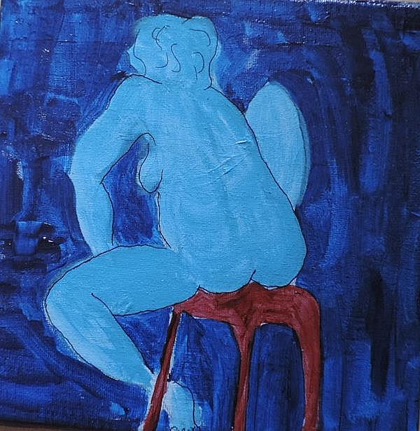 Art: blue nude on red stool by Artist Nancy Denommee