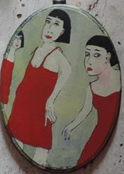 Art: three red dresses by Artist Nancy Denommee